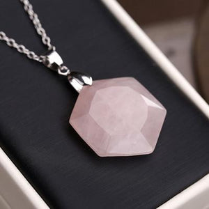 Bewitched Jewels Pink Crystal Natural Gemstone Healing Hexagon Necklace