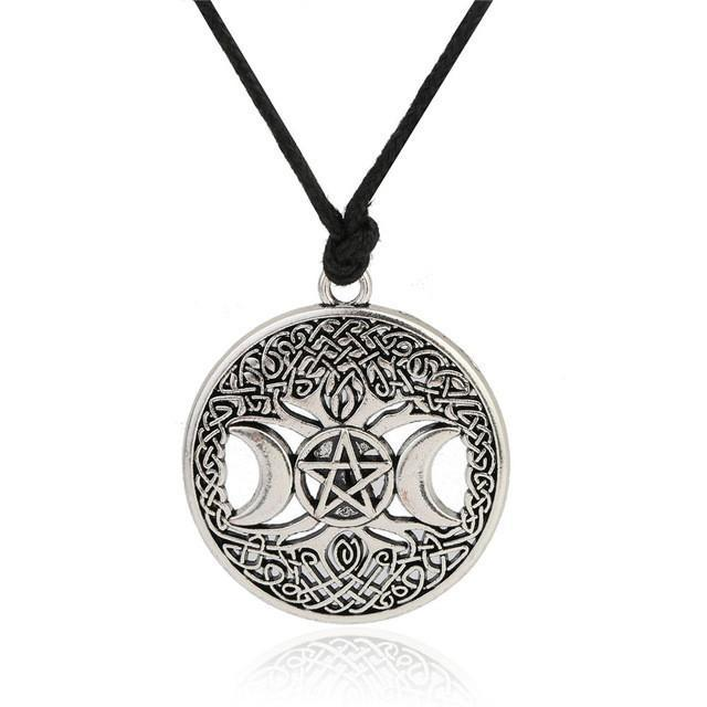 Bewitched Jewels SILVER Tree Of Life & Triple Moon Goddess Wiccan Pentagram Necklace