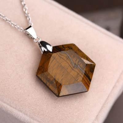 Bewitched Jewels Tiger Stone Natural Gemstone Healing Hexagon Necklace