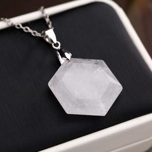 Bewitched Jewels White Crystal Natural Gemstone Healing Hexagon Necklace