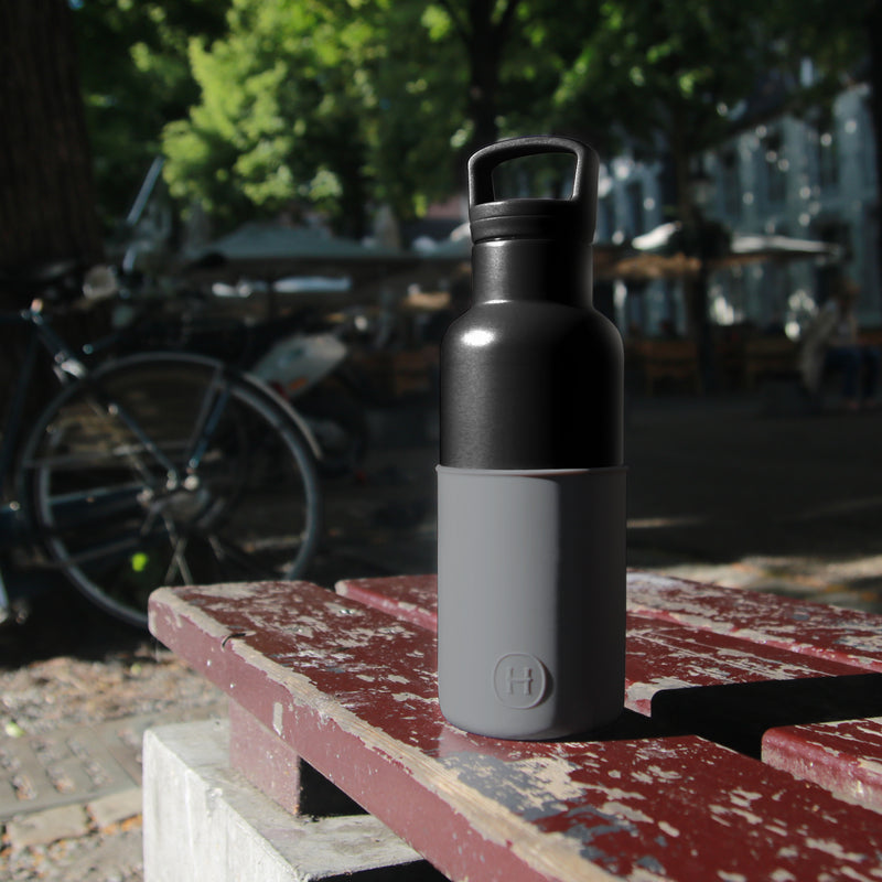 Black-Metallic Grey 16 Oz, HYDY - Water bottles, 18/8 (304) Stainless Steel, BPA Free, Reusable