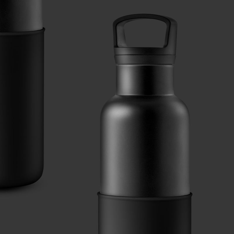 Black-Midnight Black 20 Oz, HYDY - Water bottles, 18/8 (304) Stainless Steel, BPA Free, Reusable