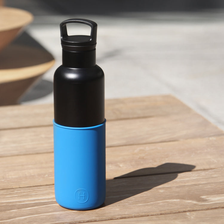 Black-Blue 20 Oz, HYDY - Water bottles, 18/8 (304) Stainless Steel, BPA Free, Reusable