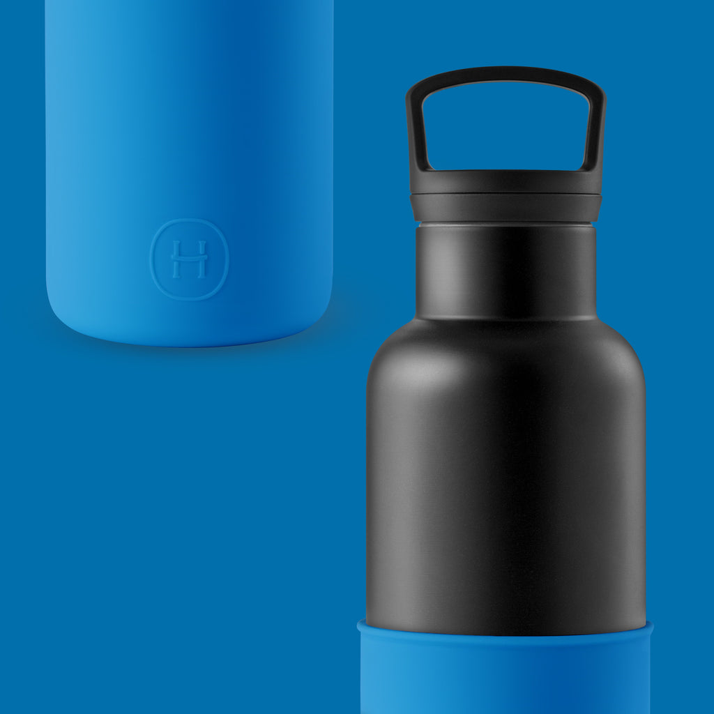 Cin Cin (Black-Blue) 20 Oz, HYDY - Water bottles, 18/8 (304) Stainless Steel, BPA Free, Reusable