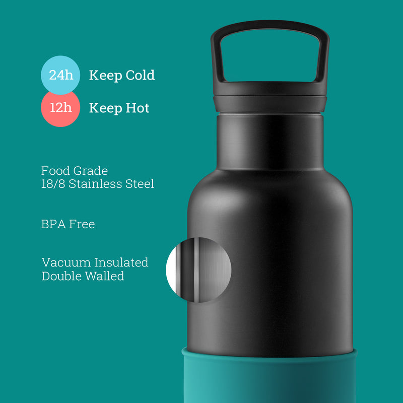 Black-Dark Cyan 20 Oz, HYDY - Water bottles, 18/8 (304) Stainless Steel, BPA Free, Reusable