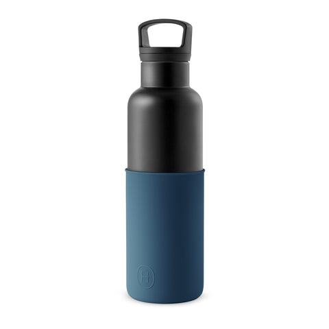 Black-Navy Blue 20 Oz, HYDY - Water bottles, 18/8 (304) Stainless Steel, BPA Free, Reusable
