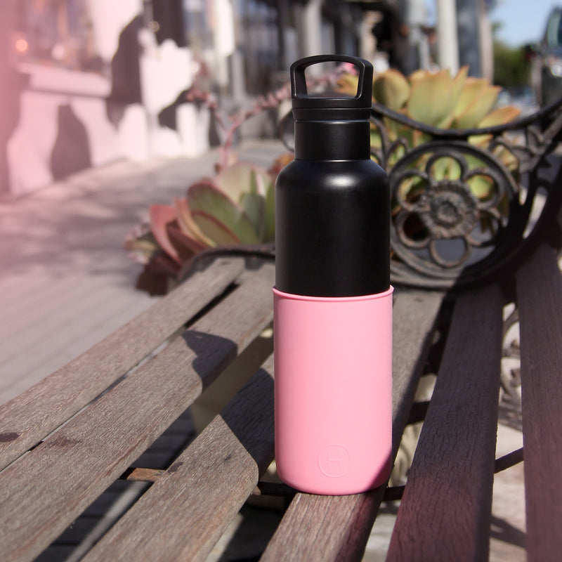 Black-Rose Pink 20 Oz, HYDY - Water bottles, 18/8 (304) Stainless Steel, BPA Free, Reusable