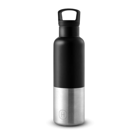 Cin Cin (Black-Stainless natural silver) 20 Oz, HYDY - Water bottles, 18/8 (304) Stainless Steel, BPA Free, Reusable