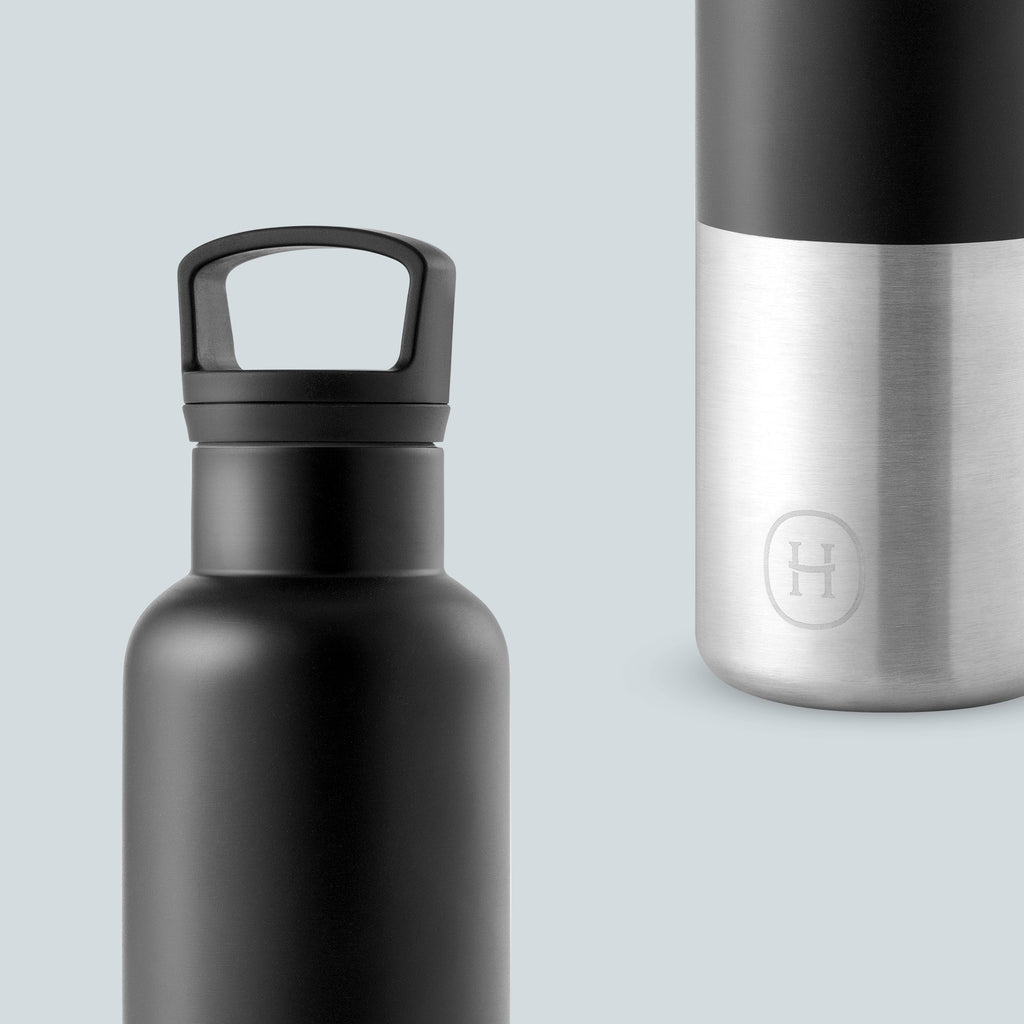 Cin Cin (Black-Stainless natural silver) - HYDY® | Water bottles, 18/8 (304) Stainless Steel, BPA Free, Reusable