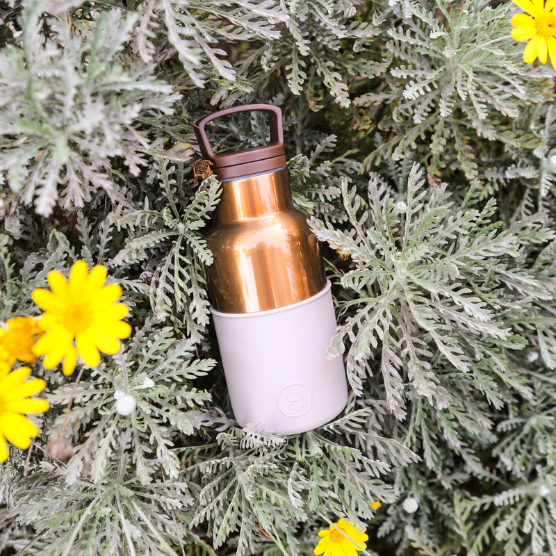 Bronze Gold-Eucalyptus 12 Oz, HYDY - Water bottles, 18/8 (304) Stainless Steel, BPA Free, Reusable