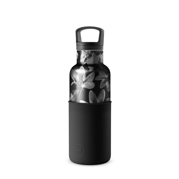 Halftone-Ink Black 16 Oz, HYDY - Water bottles, 18/8 (304) Stainless Steel, BPA Free, Reusable