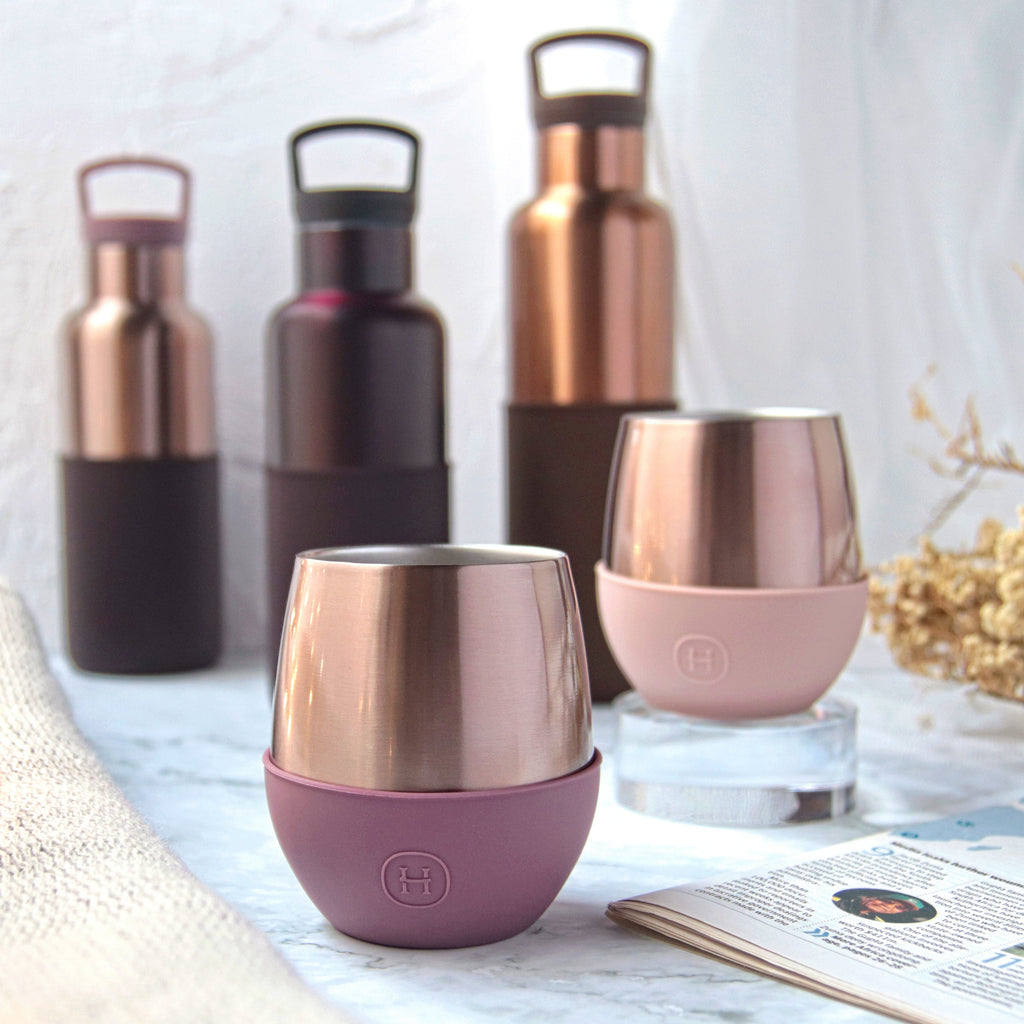 Pink Gold Tumbler-Wild Cherry 8 OZ, HYDY - Water bottles, 18/8 (304) Stainless Steel, BPA Free, Reusable