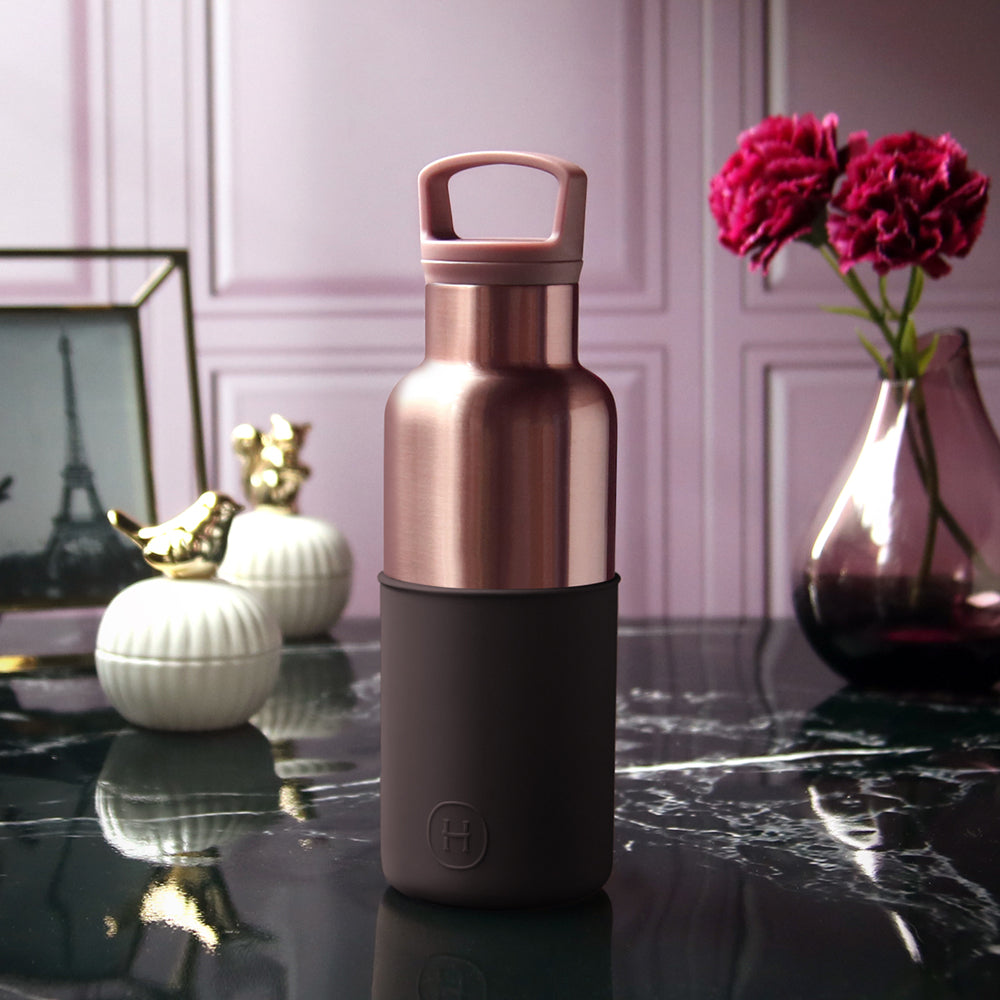 HYDY | CinCin Déco-Pink Gold & Black Cherry 16 Oz Double Wall Stainless Bottle