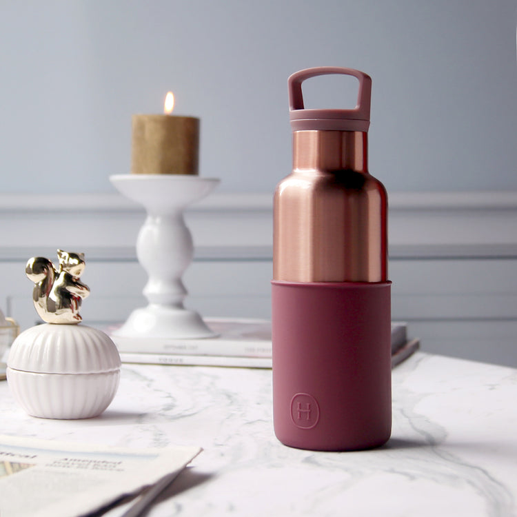 Pink Gold-Wine Red 16 Oz, HYDY - Water bottles, 18/8 (304) Stainless Steel, BPA Free, Reusable