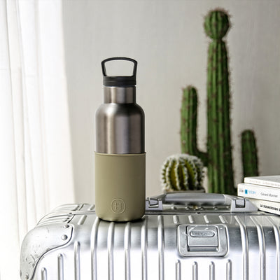 Titanium grey-Army Green 16 Oz, HYDY - Water bottles, 18/8 (304) Stainless Steel, BPA Free, Reusable