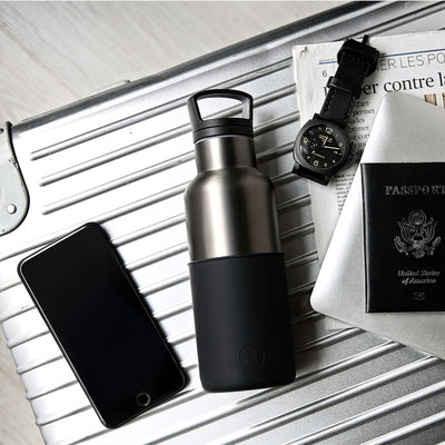 Titanium grey-Ink Black 16 Oz, HYDY - Water bottles, 18/8 (304) Stainless Steel, BPA Free, Reusable
