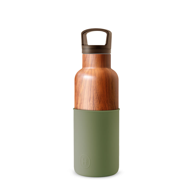 Wood Grain-Army Green 16 Oz, HYDY - Water bottles, 18/8 (304) Stainless Steel, BPA Free, Reusable