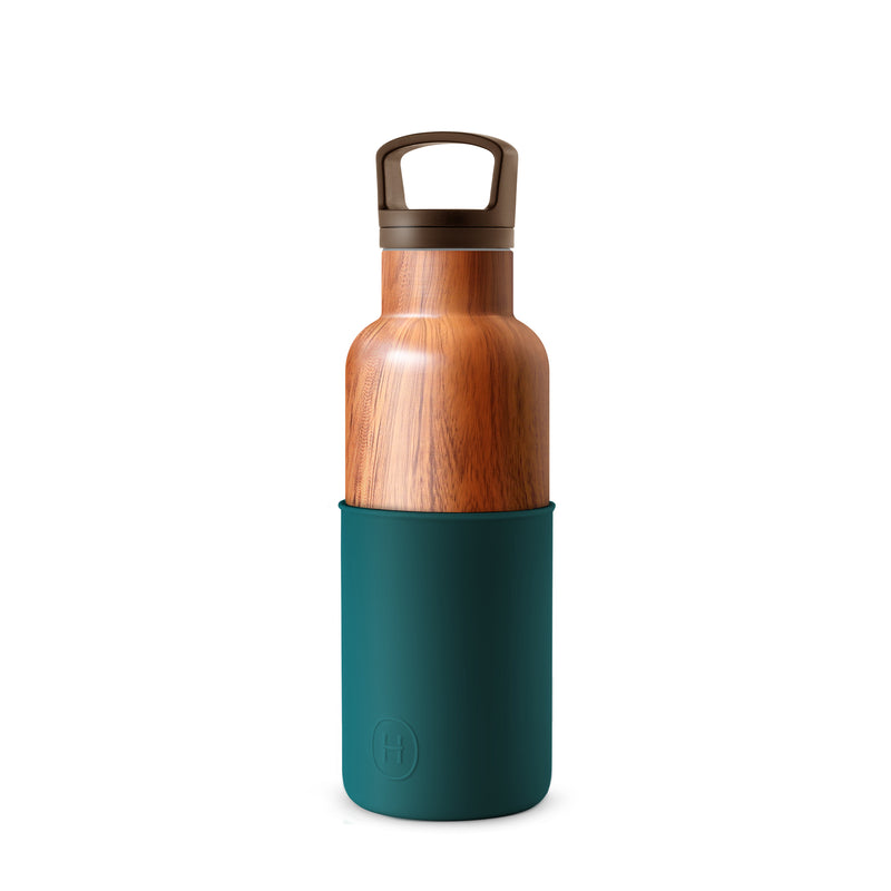 Wood Grain-Peacock Green 16 Oz, HYDY - Water bottles, 18/8 (304) Stainless Steel, BPA Free, Reusable
