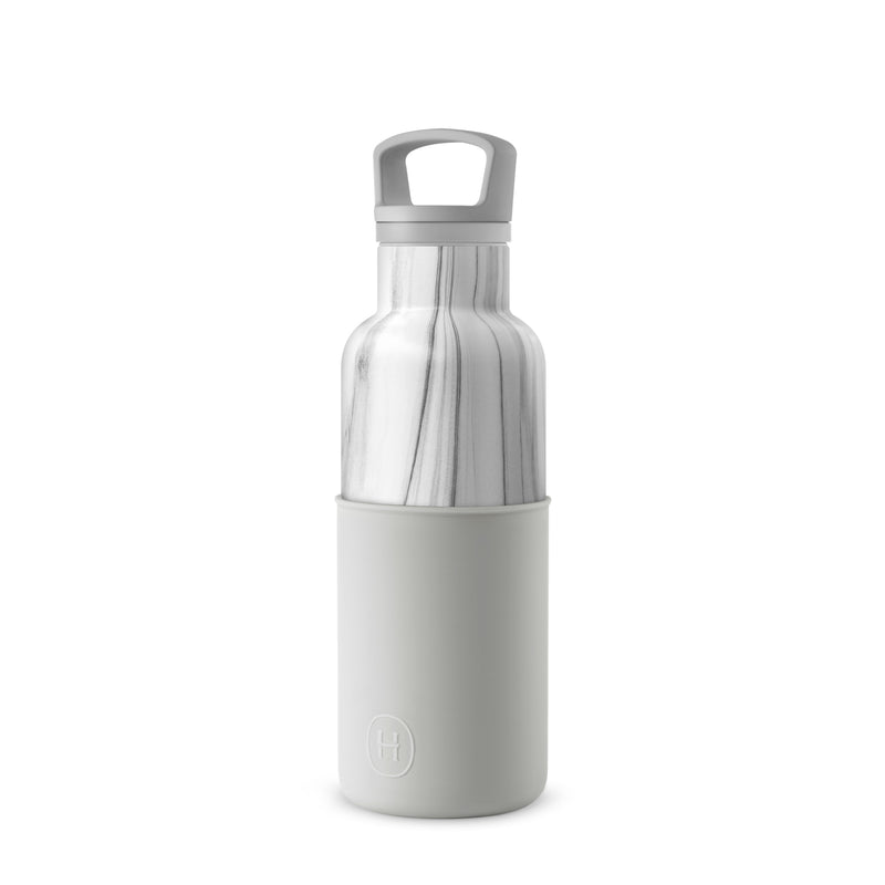 White Marble-Cloudy Grey 16 Oz, HYDY - Water bottles, 18/8 (304) Stainless Steel, BPA Free, Reusable