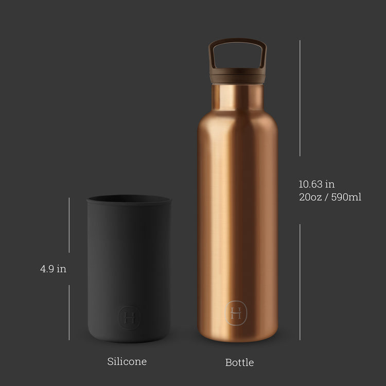Bronze Gold-Midnight Black 20 Oz, HYDY - Water bottles, 18/8 (304) Stainless Steel, BPA Free, Reusable
