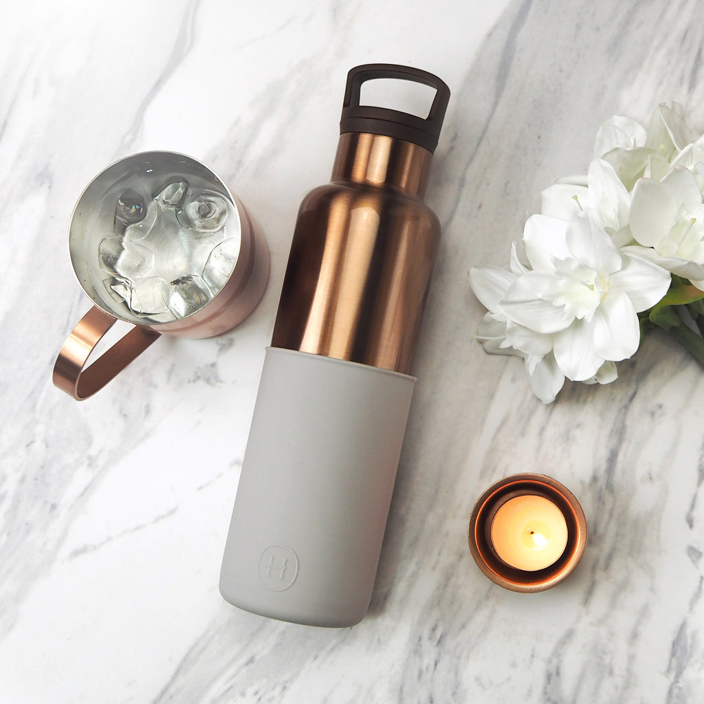 HYDY CinCin Déco-Bronze Gold-Cloud Grey Double Wall Stainless Bottle