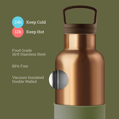 Bronze Gold-Seaweed Green 20 Oz, HYDY - Water bottles, 18/8 (304) Stainless Steel, BPA Free, Reusable
