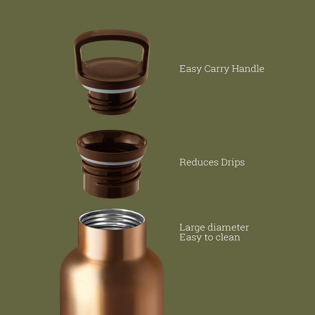 HYDY CinCin Déco-Bronze Gold-Seaweed Green Double Wall Stainless Bottle