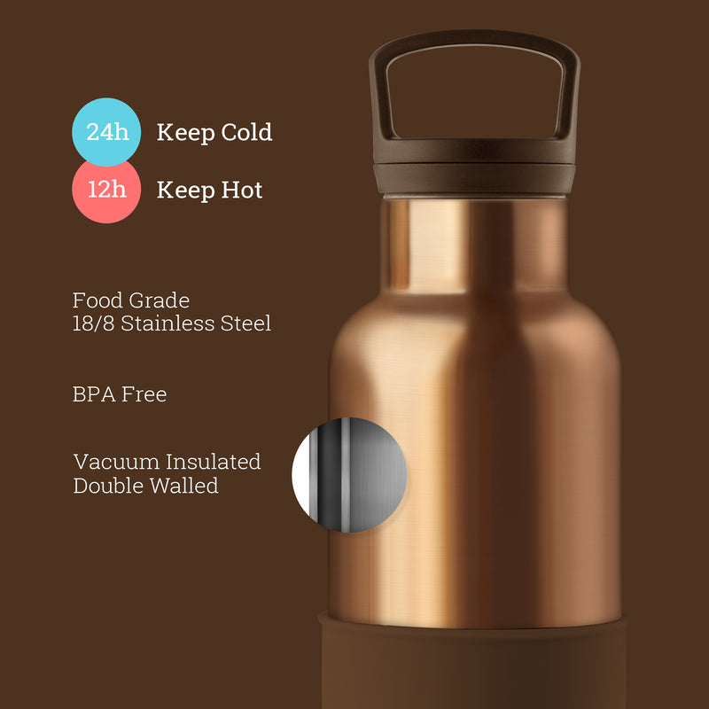 Bronze Gold-Mocha 20 Oz, HYDY - Water bottles, 18/8 (304) Stainless Steel, BPA Free, Reusable