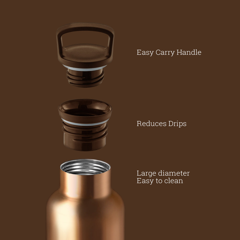 HYDY CinCin Déco-Bronze Gold-Mocha Double Wall Stainless Bottle