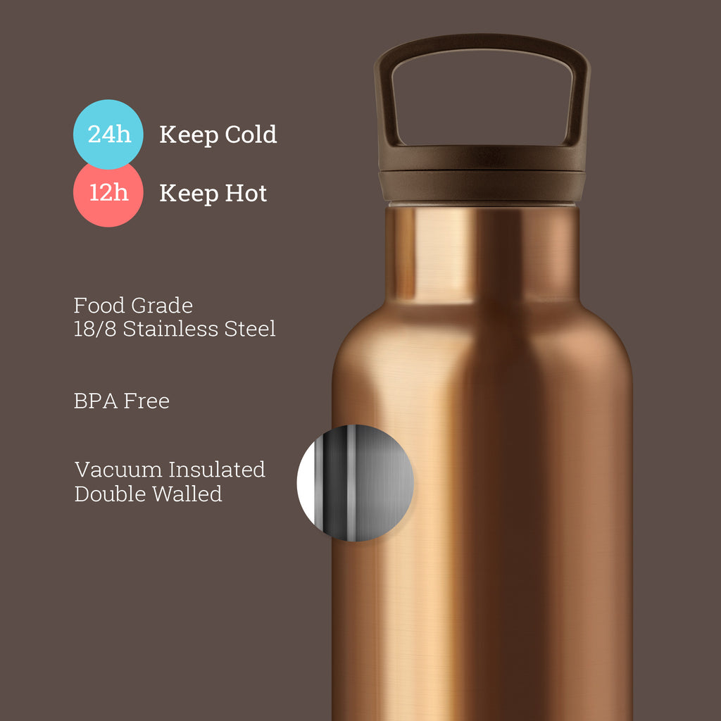 HYDY CinCin Déco-Bronze Gold Double Wall Stainless Bottle