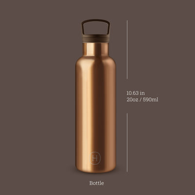 Bronze Gold 20 Oz, HYDY - Water bottles, 18/8 (304) Stainless Steel, BPA Free, Reusable