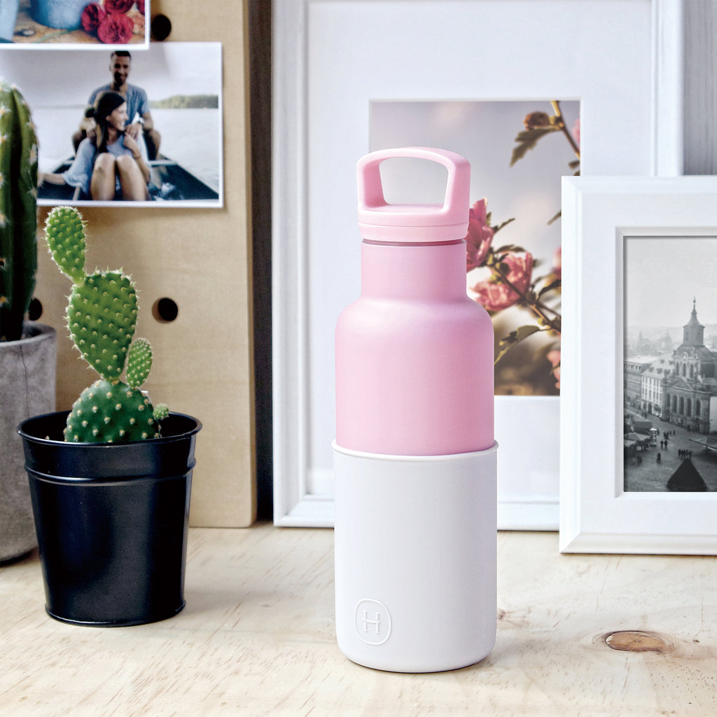 HYDY | CinCin Déco-Rose Pink & Snow Double Wall Stainless Bottle, 18/8 (304) Stainless Steel, BPA Free, Reusable
