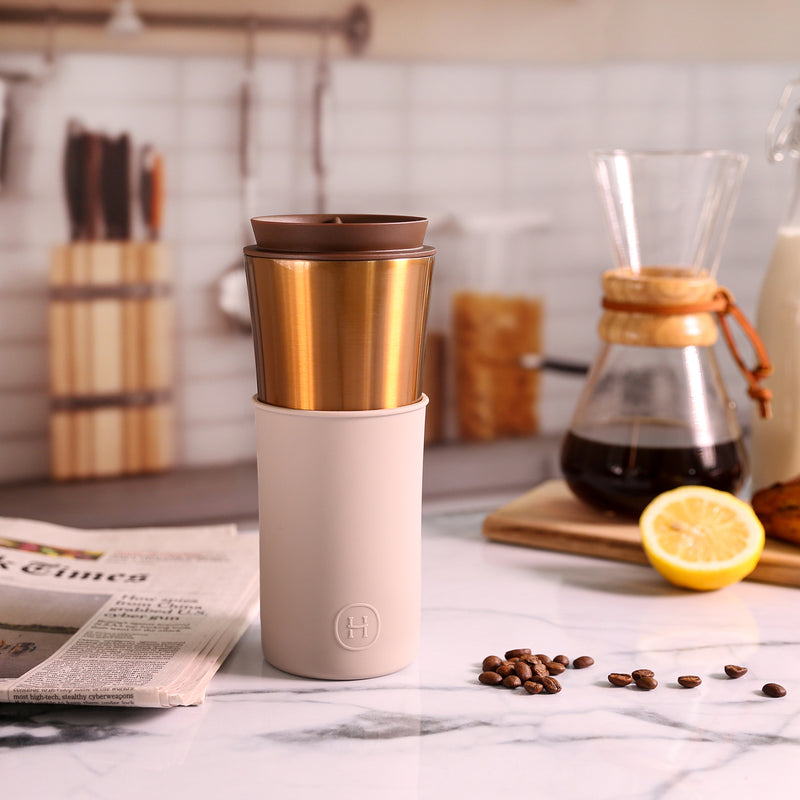 Bronze Gold Travel Mug - Eucalyptus 15 Oz
