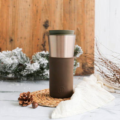 Metallic Fir Travel Mug - Mocha 15 Oz