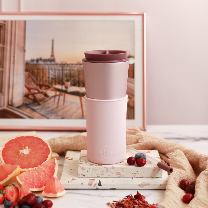 Pearl Pink Travel Mug - Cherry Blossoms 15 Oz