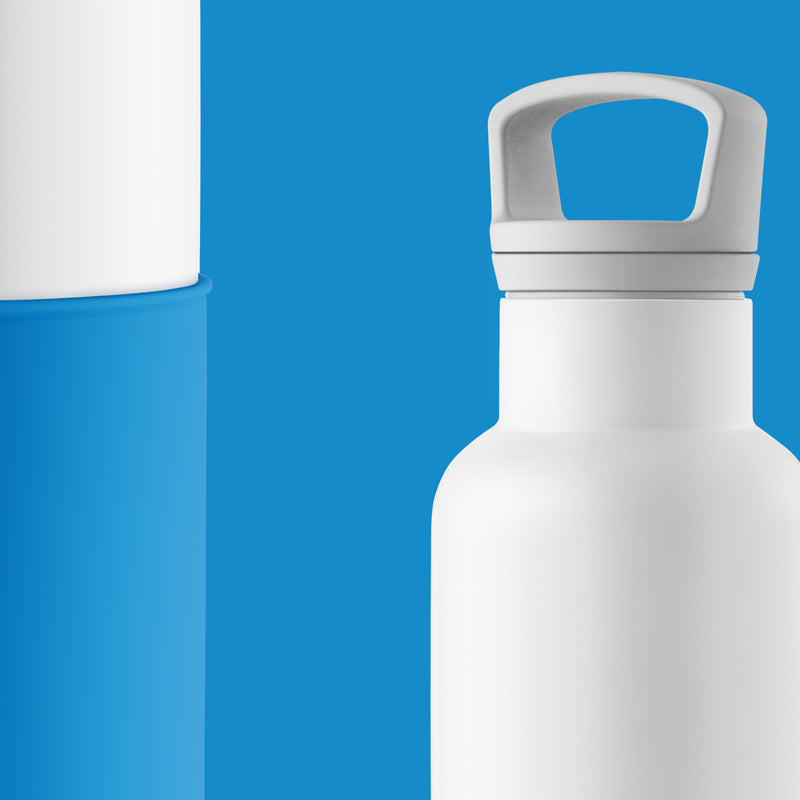 White-Blue 20 Oz, HYDY - Water bottles, 18/8 (304) Stainless Steel, BPA Free, Reusable