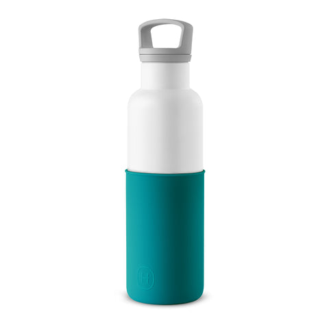 HYDY CinCin White-Dark Cyan Double Wall Stainless Steel Water Bottle