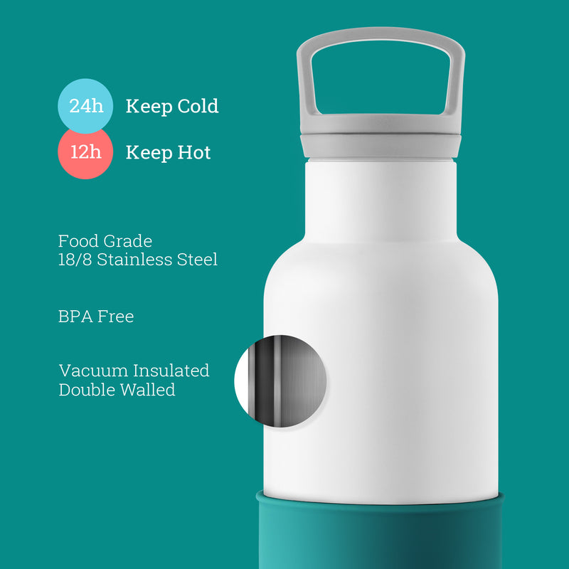 White-Dark Cyan 20 Oz, HYDY - Water bottles, 18/8 (304) Stainless Steel, BPA Free, Reusable