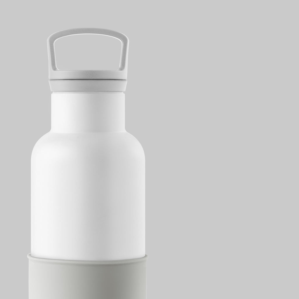 White-Cloudy Grey 20 Oz, HYDY - Water bottles, 18/8 (304) Stainless Steel, BPA Free, Reusable