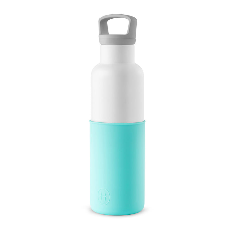 White-Arctic blue 20 Oz, HYDY - Water bottles, 18/8 (304) Stainless Steel, BPA Free, Reusable
