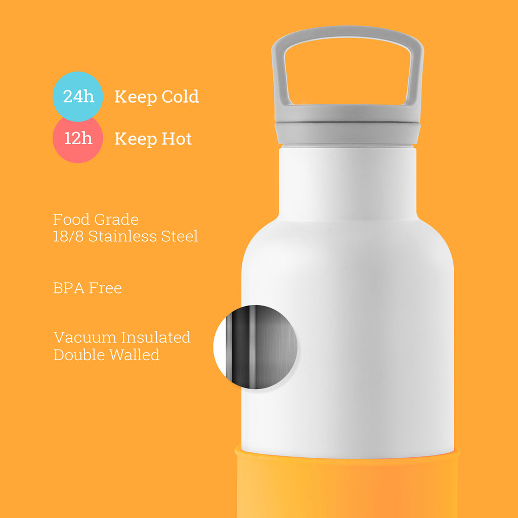 HYDY CinCin White-Pumpkin Orange Double Wall Stainless Steel Water Bottle