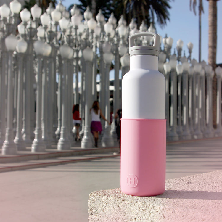 White-Rose pink 20 Oz, HYDY - Water bottles, 18/8 (304) Stainless Steel, BPA Free, Reusable