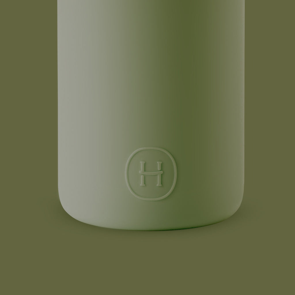 HYDY CinCin White-Seaweed Green Double Wall Stainless Steel Water Bottle
