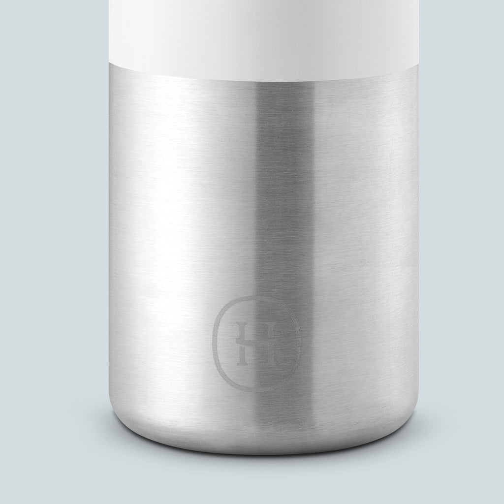 White-Stainless natural silver 20 Oz, HYDY - Water bottles, 18/8 (304) Stainless Steel, BPA Free, Reusable