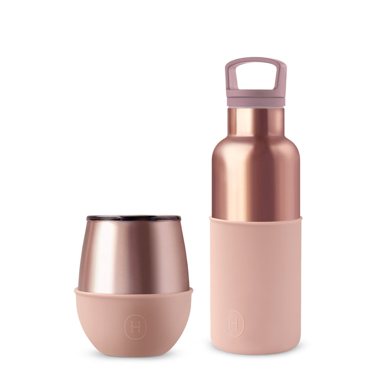 Set-Pink Gold Bottle and Tumbler, HYDY - Water bottles, 18/8 (304) Stainless Steel, BPA Free, Reusable