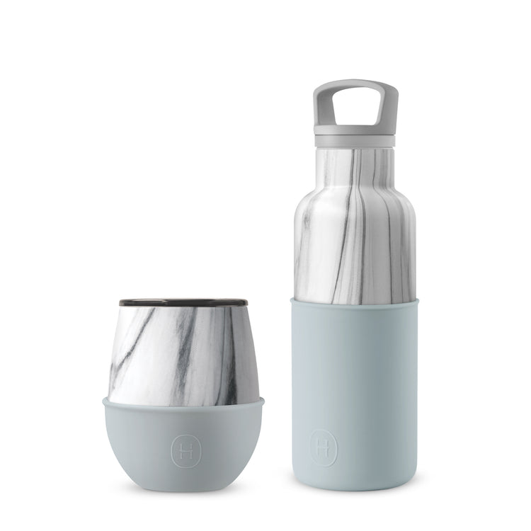 Set-White Marble Bottle and Tumbler