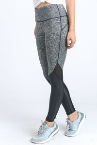 BLACK AND GREY LEATHER LEGGING