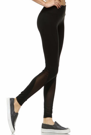 BLACK MESH STRIPE LEGGING