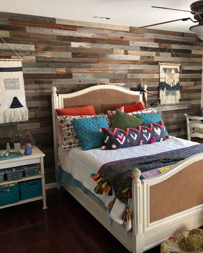 "boho bedroom plank and mill 3"" reclaimed wood planks"