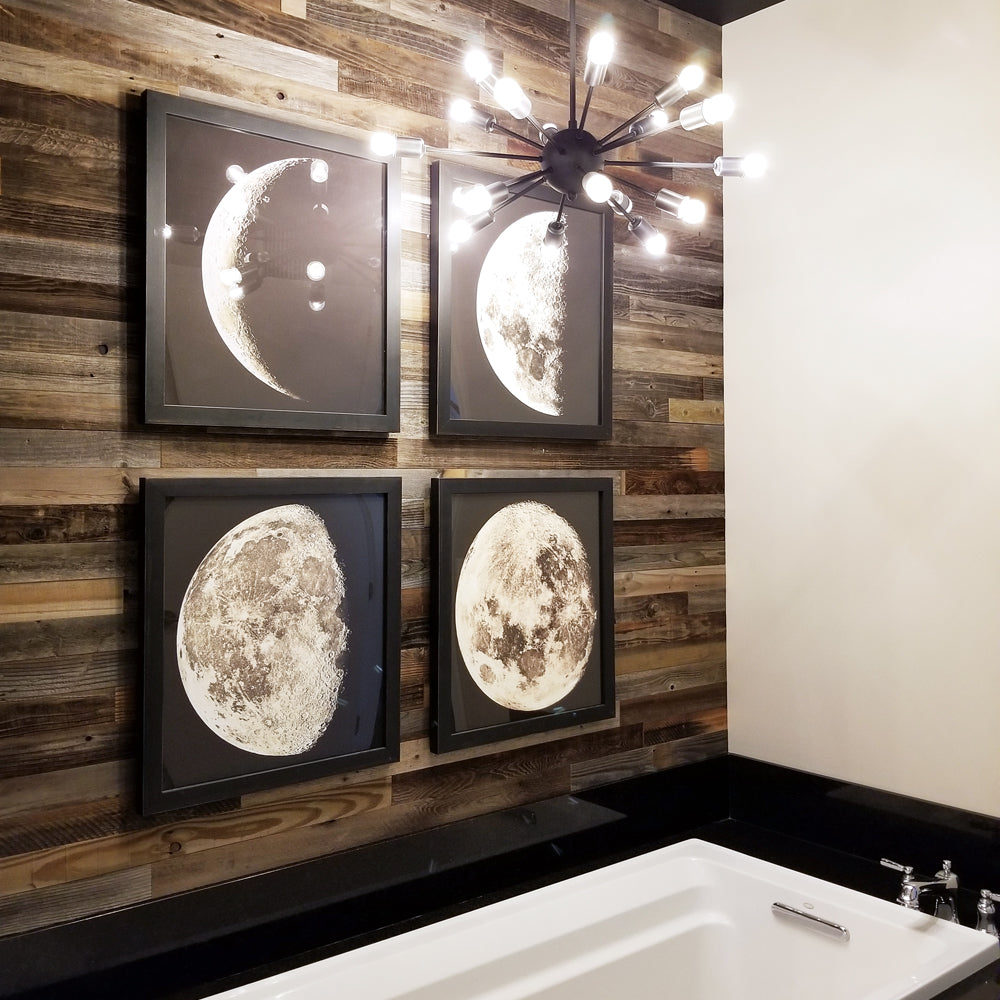Industrial rustic bathroom with Plank & Mill wood planks